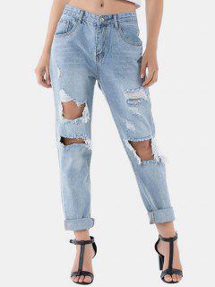 Distressed Raw Hem Boyfriend Jeans - Denim Blue L