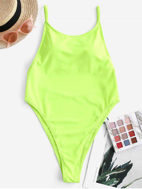 chic ZAFUL Neon High Cut Backless Thong One-piece Swimsuit - GREEN YELLOW S Mobile