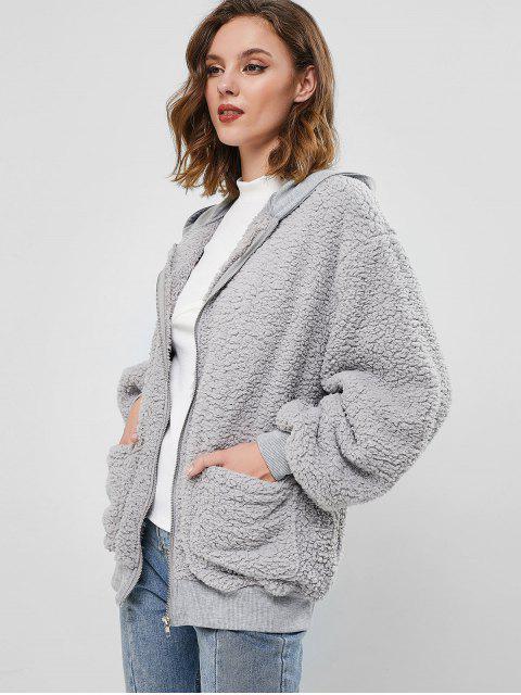 ZAFUL Manteau à Capuche Zippé Fourré - Gris XL Mobile