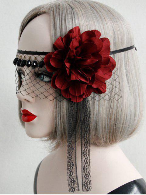 latest Halloween Mesh Flower Fringe Face Mask - BLACK  Mobile