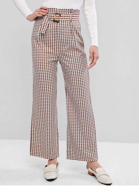 Pantalones de bolsa de papel de guinga de pierna ancha con cinturón - Suciedad Roja L Mobile