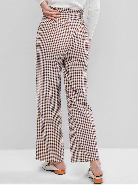 Pantalones de bolsa de papel de guinga de pierna ancha con cinturón - Suciedad Roja M Mobile
