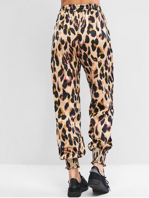 Pantalones jogger de bolsillo con cordón y estampado animal de leopardo - Leopardo XL Mobile
