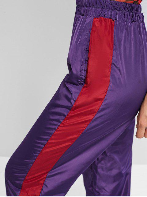 Pantalones rompevientos de talle alto ZAFUL Color Block - Orquídea Mediana L Mobile
