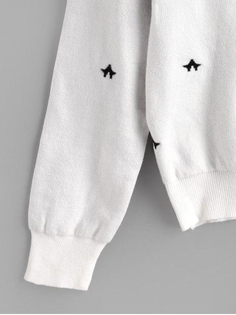 Camisola de Lã Tricotada com Gola Alta e Fecho de Laço - Branco Um Tamanho Mobile