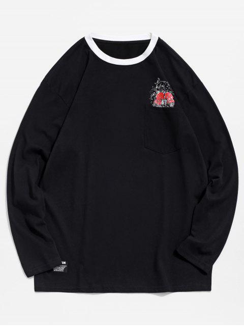 Panda boxeo de impresión en el pecho Camiseta del bolsillo - Negro M Mobile