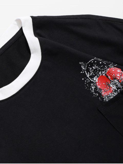 Panda boxeo de impresión en el pecho Camiseta del bolsillo - Negro S Mobile
