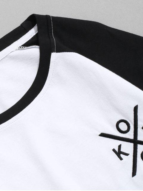 字母刺繡色塊拼接插肩袖T卹 - 黑色 L Mobile