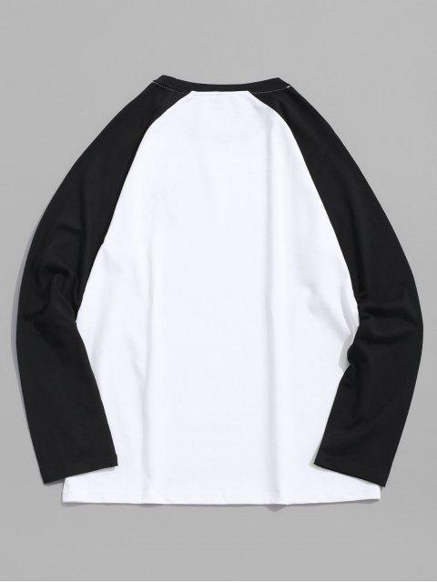 Raglán de la letra del bordado de color bloque empalmado Tee - Negro XL Mobile