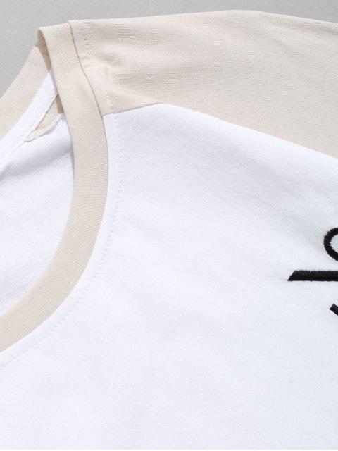 Raglán de la letra del bordado de color bloque empalmado Tee - Beige 2XL Mobile