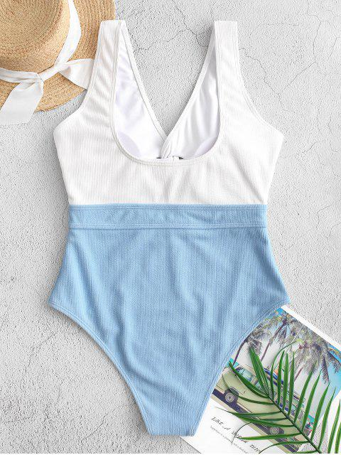 women ZAFUL Color Block Twisted Ribbed One-piece Swimsuit - MULTI-A M Mobile