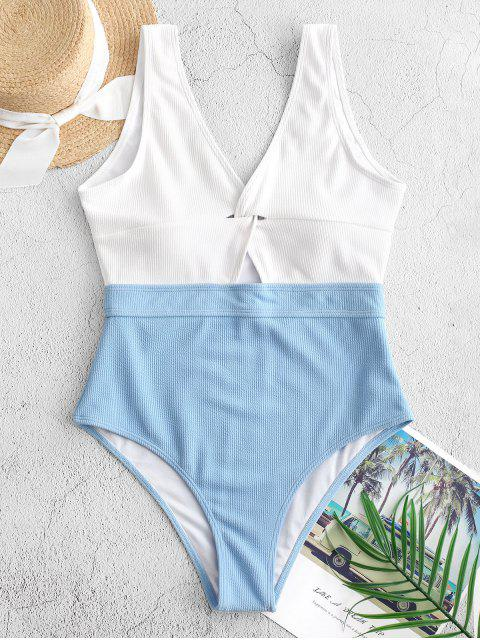 new ZAFUL Color Block Twisted Ribbed One-piece Swimsuit - MULTI-A S Mobile