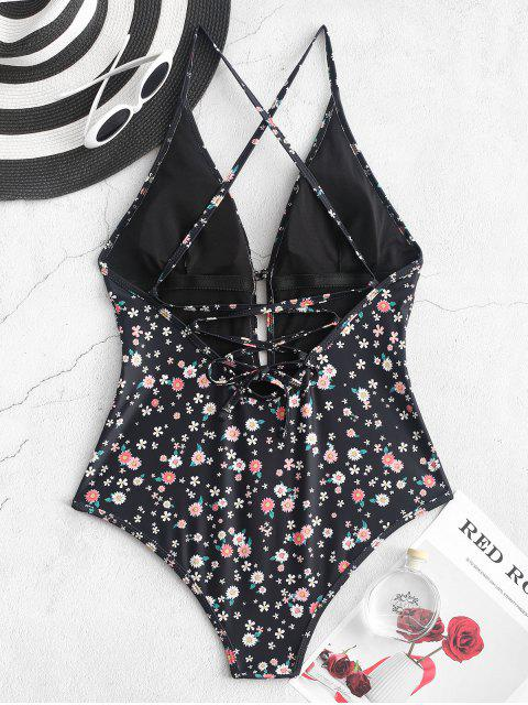 women's ZAFUL Tiny Flower Lace Up One-piece Swimsuit - BLACK S Mobile