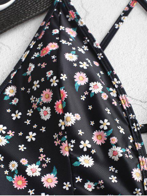 ZAFUL Цветочный принт На шнуровке Слитный Купальник - Чёрный S Mobile