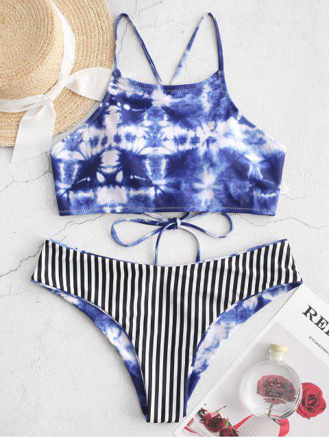 ZAFUL del tinte del lazo de rayas atan para arriba Cami bikini - Azul de Arándanos L Mobile