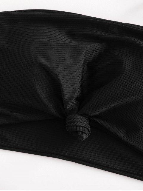 ZAFUL Maillot de Bain Bikini Bandeau Noué Côtelé à Coupe Haute - Noir M Mobile