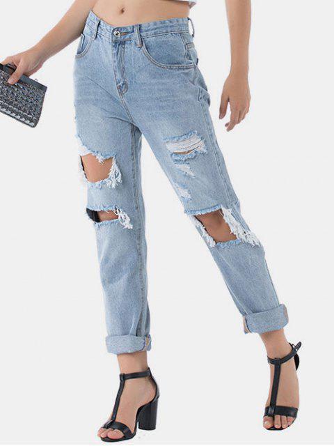 new Distressed Raw Hem Boyfriend Jeans - DENIM BLUE S Mobile