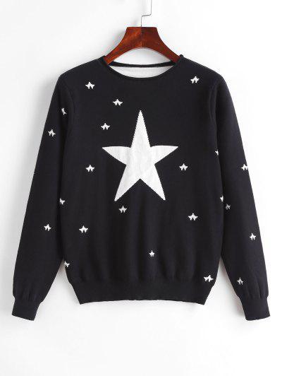 Jersey Tejido Estampado Estrella - Negro