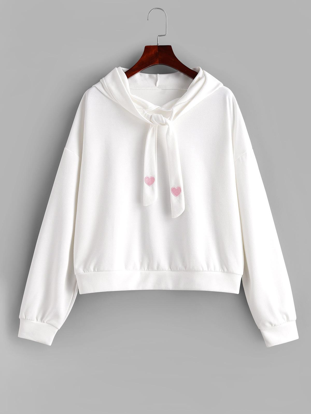 Heart Embroidered Tie Oversized Drop Shoulder Hoodie thumbnail