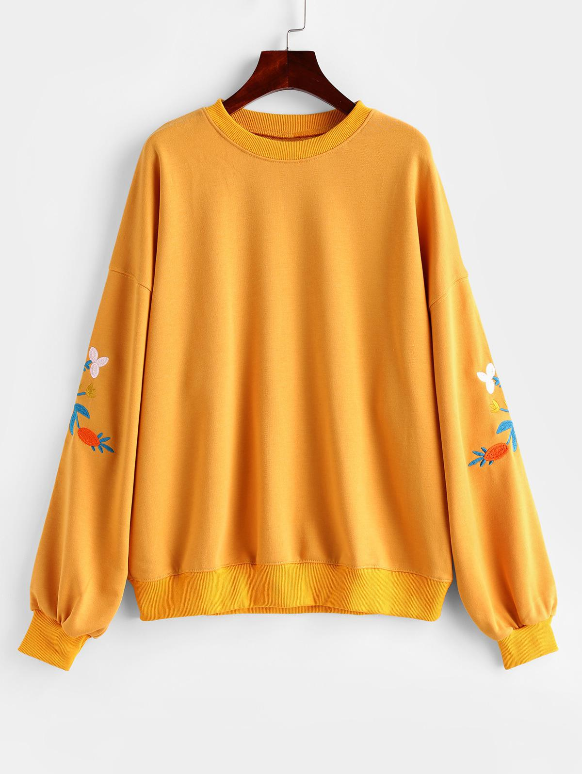 Flower Embroidered French Terry Drop Shoulder Sweatshirt
