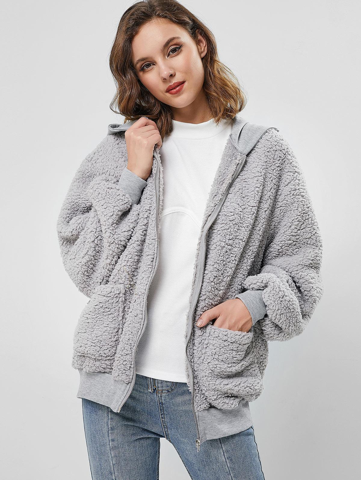 ZAFUL Hooded Fluffy Zip Up Teddy Coat