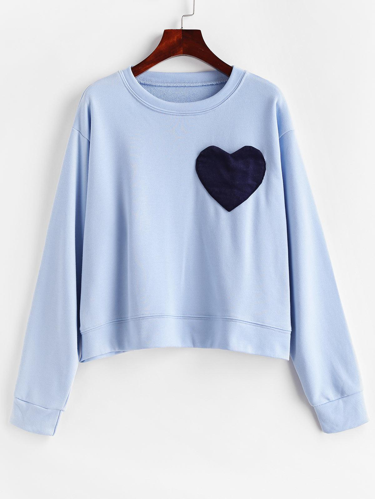 Corduroy Heart Pocket French Terry Drop Shoulder Sweatshirt