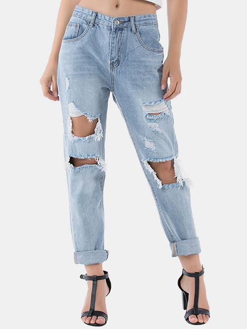 Distressed Raw Hem Boyfriend Jeans
