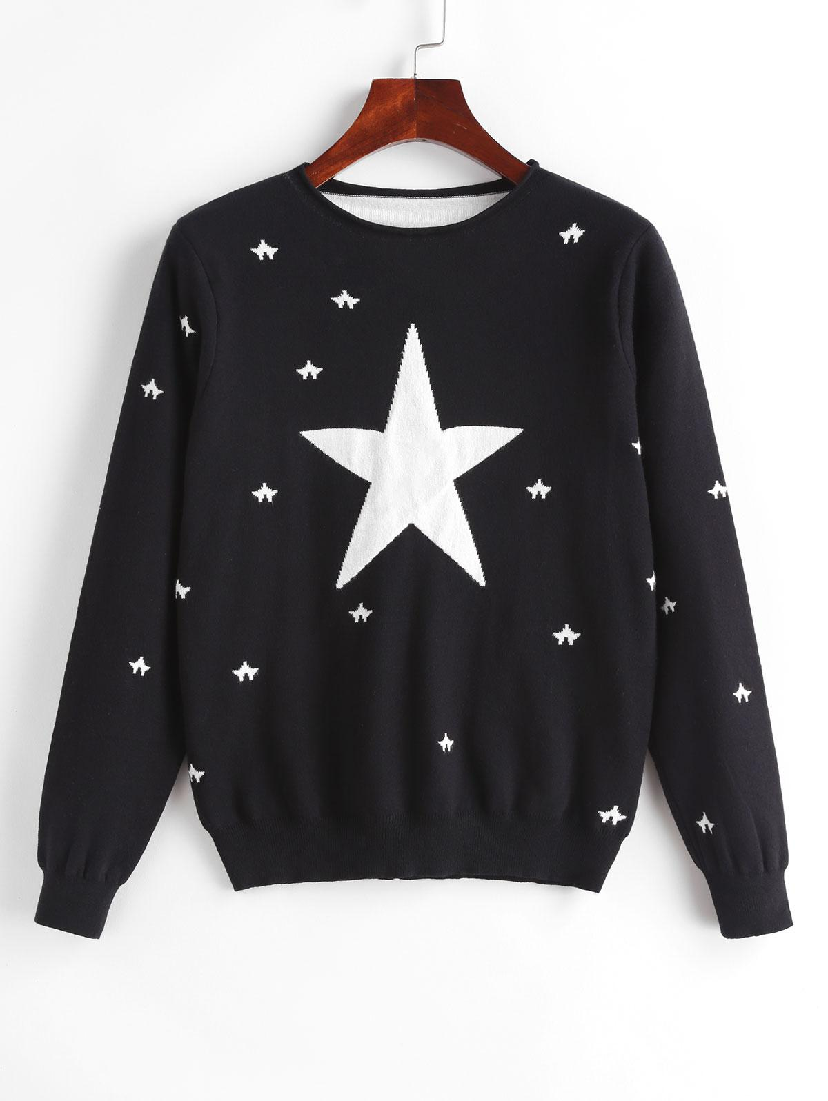 Star Pattern Roll Trim Knitted Sweater