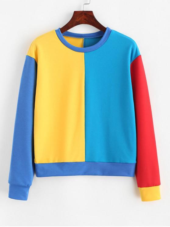women ZAFUL Pullover Rainbow Colorblock Sweatshirt - MULTI XL