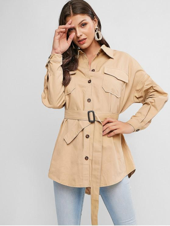 women's Button Down Flap Pockets Belted Shirt Coat - KHAKI XL