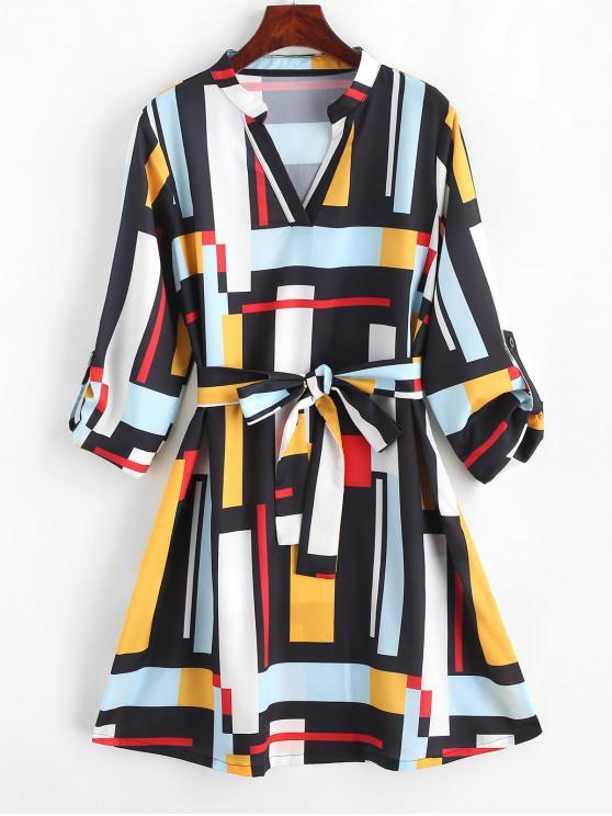 women's ZAFUL Belted Buttoned Sleeve Tabs Geometric Mini Dress - MULTI S