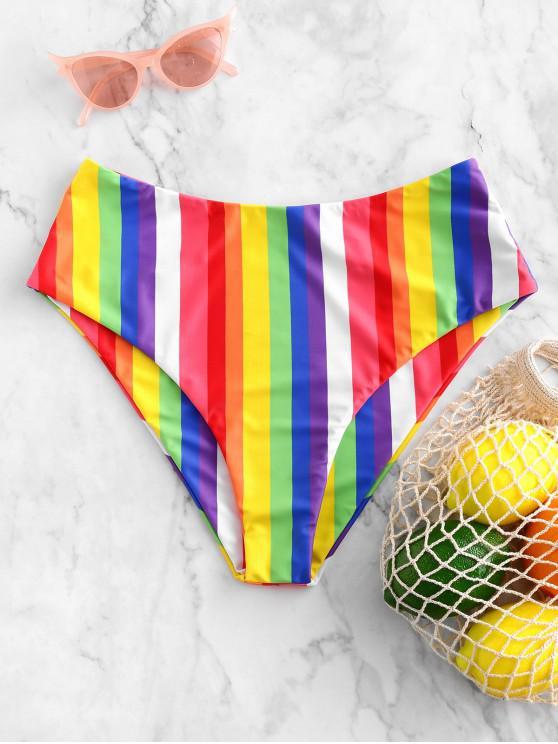online ZAFUL Rainbow High Waisted Bikini Bottom - MULTI-A M