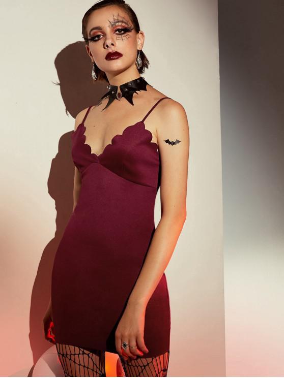 best ZAFUL Scalloped Bodycon Cami Dress - RED WINE L