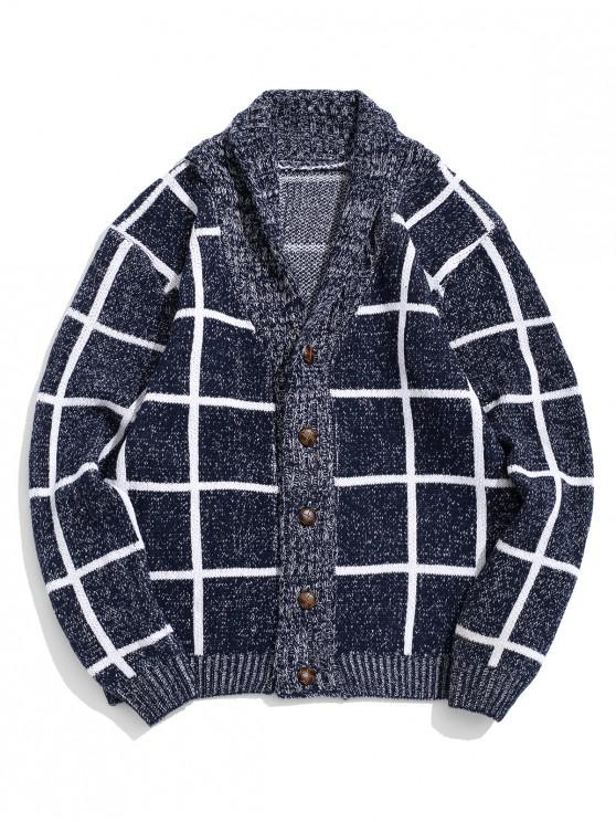 best Plaid Print Button Up Flat Collar Cardigan - DEEP BLUE XS