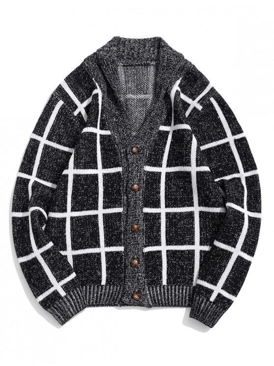 sale Plaid Print Button Up Flat Collar Cardigan - BLACK M