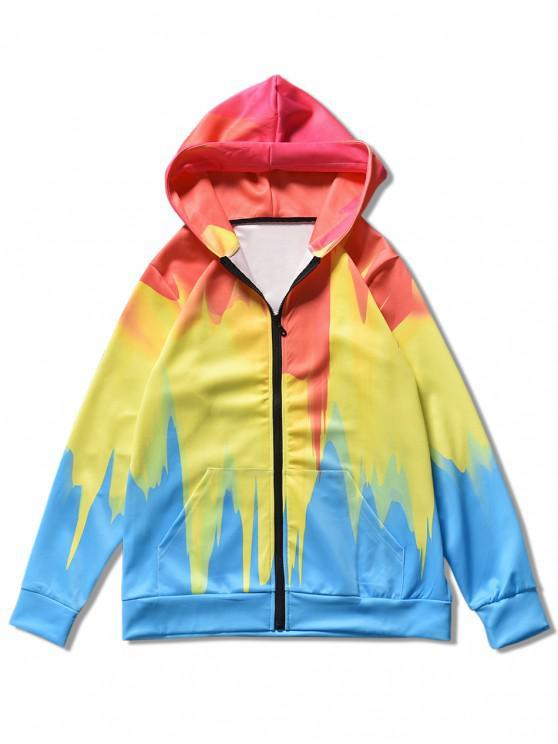 buy Splash Print Zip Up Hoodie - MULTI 2XL