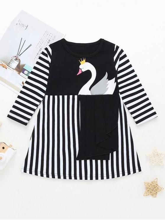 women's Girls Swan Graphic Striped A Line Dress - BLACK 130