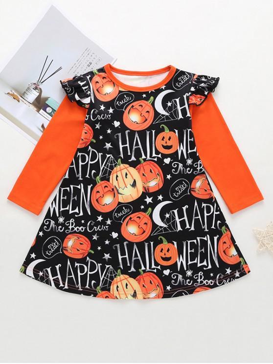 online Girls Halloween Pumpkin Print Ruffled Sleeve Mini Dress - ORANGE 100