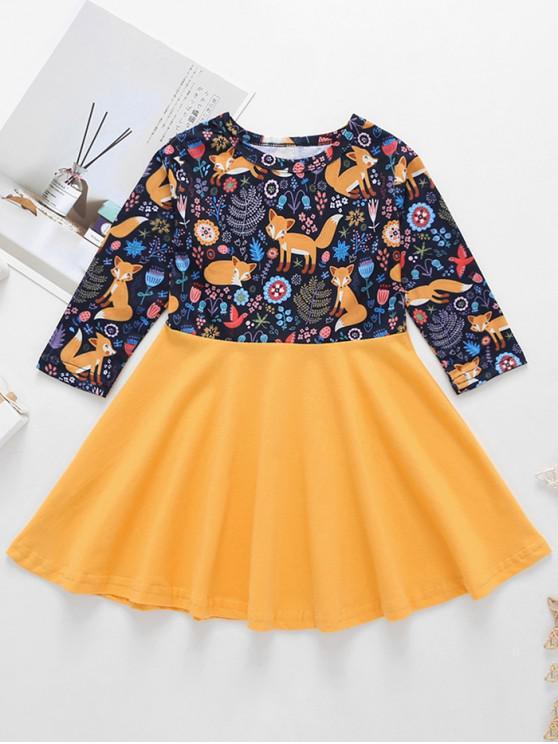 trendy Girls Animal Print High Waist A Line Dress - YELLOW 120
