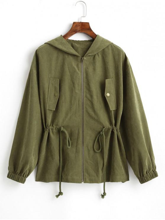 outfit ZAFUL Faux Pocket Hooded Coat - ARMY GREEN M