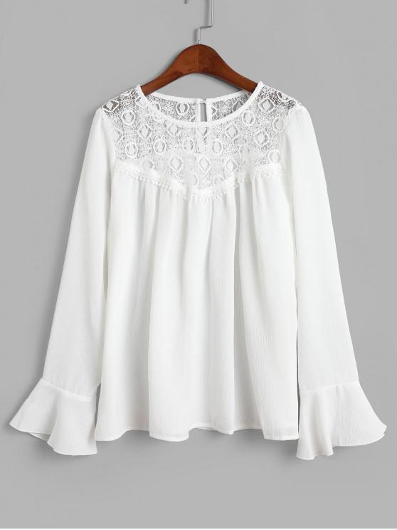 Blusa con panel de encaje y mangas acampanadas - Blanco M