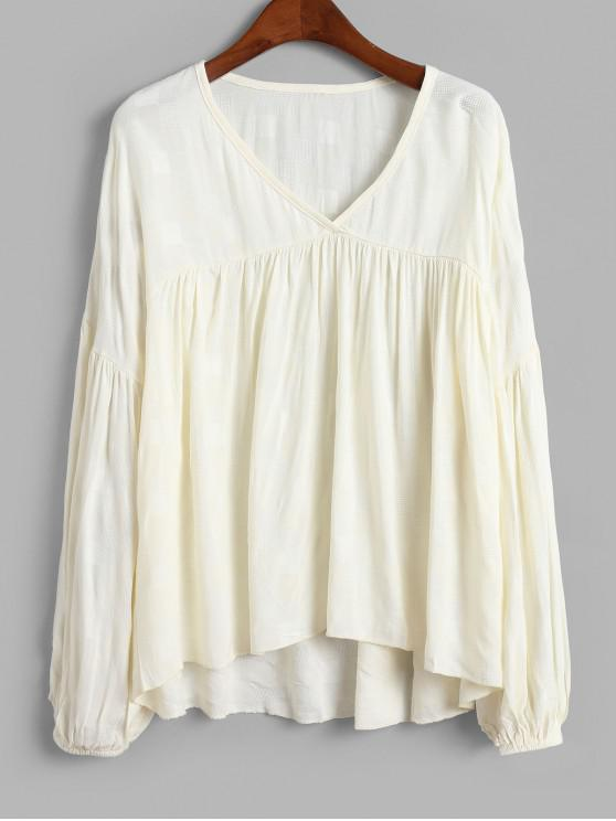 ladies V Neck Solid High Low Blouse - WHITE L