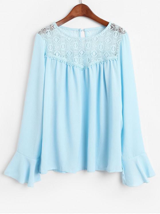 Blusa con panel de encaje y mangas acampanadas - Azul L
