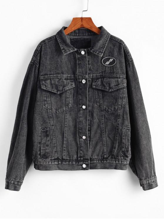 Giacca di jeans boyfriend con bottone a spalla e tasca sulla spalla - Nero S