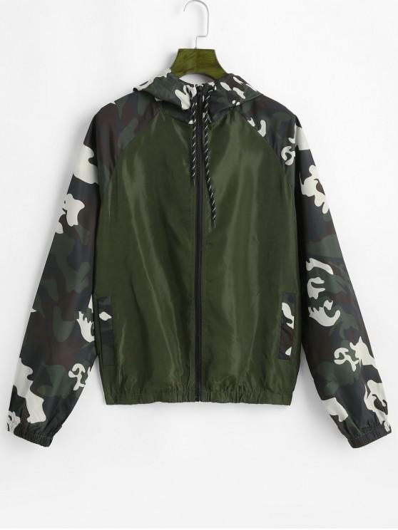 womens ZAFUL Hooded Camo Print Jacket - CAMOUFLAGE GREEN M