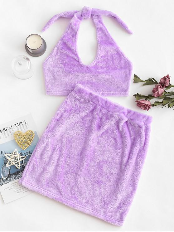 women's Two Piece Fluffy Faux Shearling Top And Skirt Set - MAUVE L