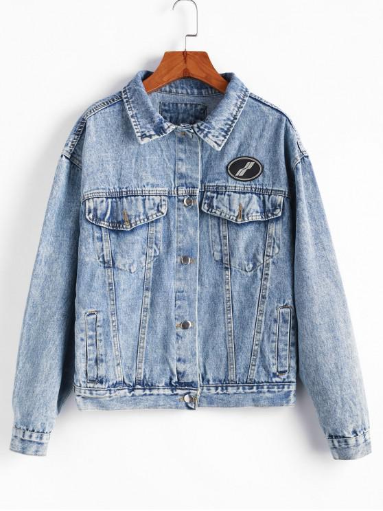 Giacca di jeans boyfriend con bottone a spalla e tasca sulla spalla - Blu Denim L