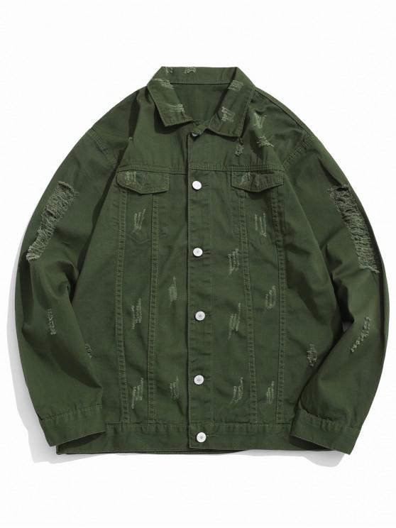 hot Solid Color Ripped Denim Jacket - ARMY GREEN S