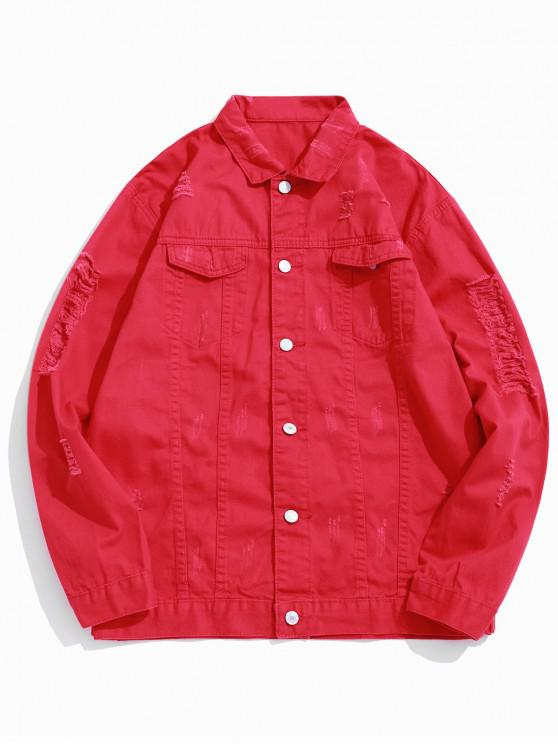 trendy Solid Color Ripped Denim Jacket - RED XS