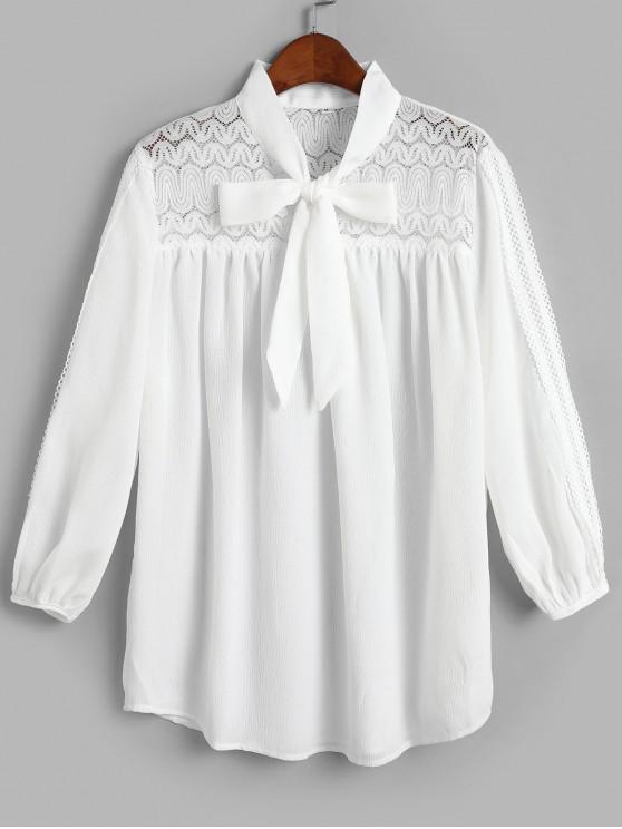 الدانتيل لوحة Picot تقليم بلوزة ربطة العنق - أبيض S